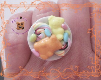 Candy and teddy bear in fimo ring