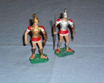 Athen, Aohna vintage Greek toy soldiers X 2, 80's classic ancient spear men Spartan & Athenian. Vintage toy soldier, Greek toy soldier.