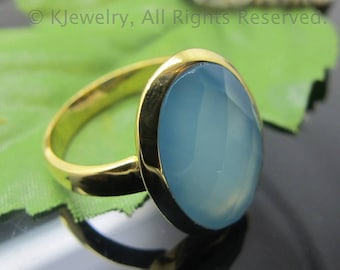 Chalcedony Ring, Sterling Silver Ring, Gemstone Ring
