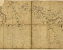 24x36 Poster; Lewis And Clark Map, Annotations By Lewis 1803