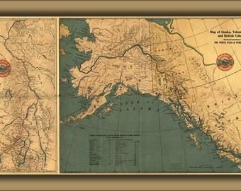 24x36 Poster; Map Alaska Yukon Territory British Columbia 1904