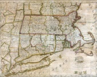 24x36 Poster; Map Massachusetts Connecticut Rhode Island 1843