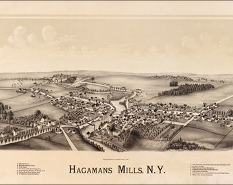 24x36 Poster; Map Of Hagamans Mills, New York 1890
