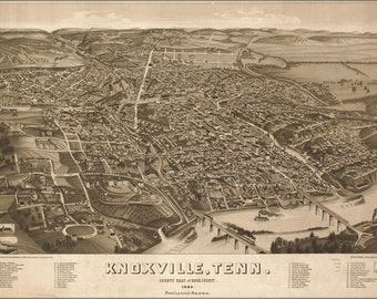 24x36 Poster; Map Of Knoxville, Tennessee 1886