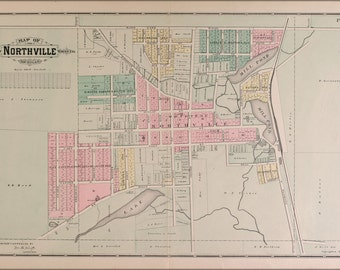 24x36 Poster; Map Of Northville Michigan 1891