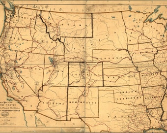 24x36 Poster; Map Of Western United States Postal Routes 1867