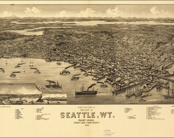 24x36 Poster; Birdseye View Map Of Seattle, Puget Sound, Washington Territory, 1884