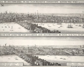 24x36 Poster; London England Before And After The Fire 17Th Century