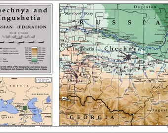 24x36 Poster; Map Of Chechnia (Russia) 1995 P2