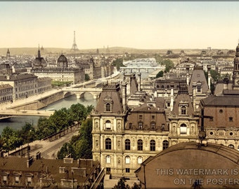 24x36 Poster; Paris Panorama Of The Seven Bridges In 1895