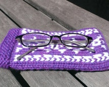 knit glasses protector, purple glasses holder, knit glasses holder, eyeglasses knit case, glasses knit case, purple knit case, violet cover