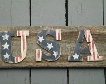 Hand Painted Barn Wood USA Sign, Red White Blue Sign, Americana Sign, July 4th Sign,  Americana Decoration, American Flag Decor