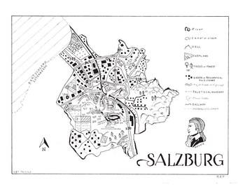 Salzburg, Austria Hand Drawn Map