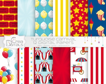 Carnival and circus - 12 red and blue digital papers - INSTANT DOWNLOAD