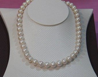White Freshwater Pearl Necklace,LUX Pearl Necklace 9-10mm,real pearl necklace,genuine pear necklace,wedding necklace pearl- Free shipping