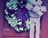 """Monogram Wreath--Chevron Burlap Wreath--Wreath with Flowers--Wreath with Ribbon--Purple and Green Wreath--Door Wreath--Wreath for Door--18"""""""