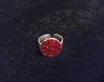 Bague paillettee rose/rouge