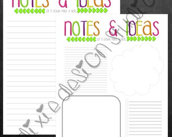 Printable Notes and Ideas Printable Stationery