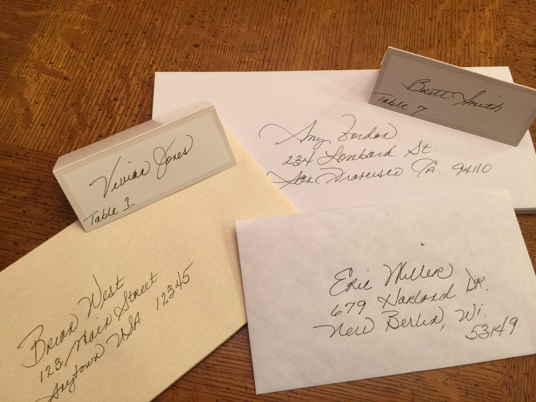 Handwritten Envelopes Place Cards Escort Cards Wedding