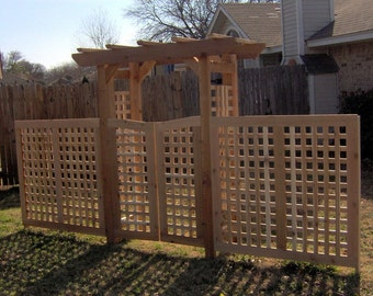 Brand New Deluxe Classic Cedar Garden Arbor with Gate and Extensions - Free Shipping