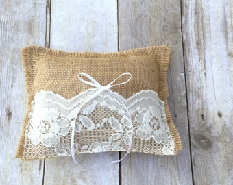 Wedding ring pillow with lace Personalization wood heart Personalized Ring Pillow