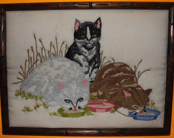 The Suppertime Guard - Completed Crewel Needlework Wall Hanging