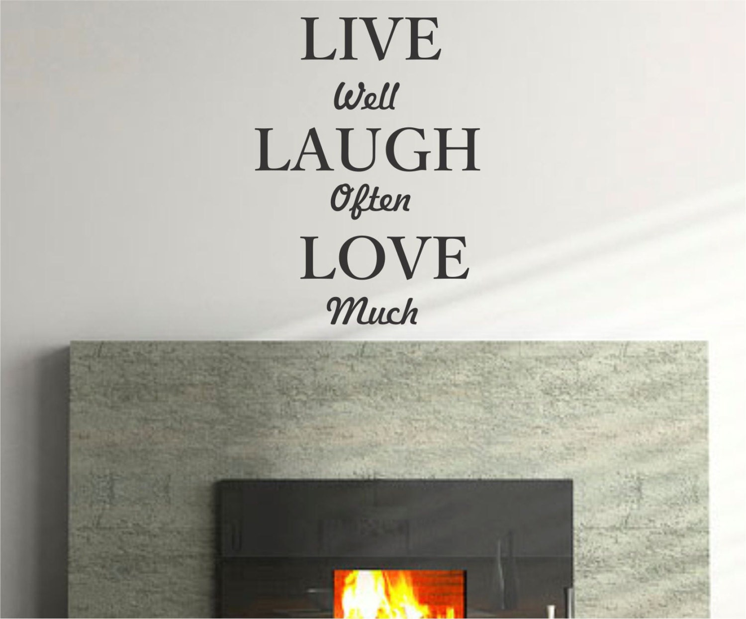 live well laugh often love much quote vinyl wall decal sticker. Black Bedroom Furniture Sets. Home Design Ideas