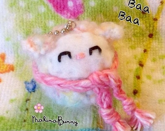 "Tiny Fuzzy Rainbow Amigurumi Sheep with 4"" ball chain, Crochet Sheep, Kawaii Sheep plush, sheep charm, plushie sheep keychain"