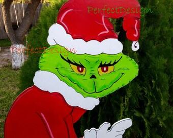 Grinch stealing the christmas lights lawn yard art decoration decor 5