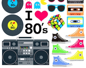 80's Clip Art, eighties fushion clipart, 80's clip art, Personal & Commercial Use, INSTANT DOWNLOAD