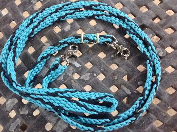 Horse Tack: Adjustable Paracord Barrel  Reins- turquoise/black 9ft barrel reins; 8 strand basket weave; 550 parcord with trigger snaps