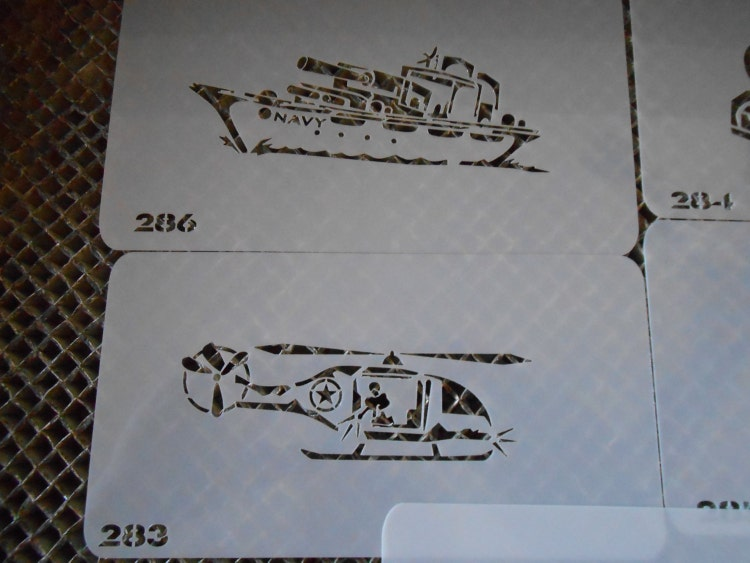 Military Tank Battleship Helicopter Stencil Set 56 By