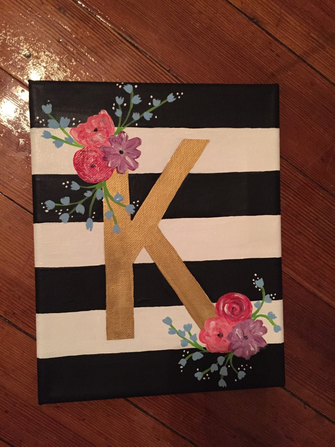 Floral letter canvas by charmingcanvases on etsy for Letter canvas