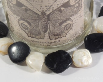 Black and white stone bracelet made from upcycled stones