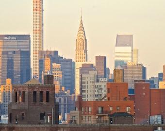 "New York City Photograph ""Skyline"", Chrysler Building, Evening Wall Decor, Architecture"