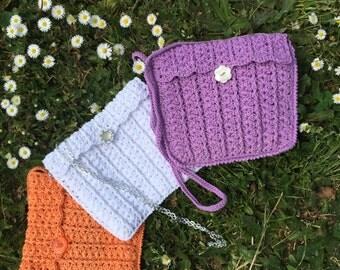Crochet sHoUldeR bag orange or white lilac