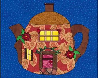 Teapot Pattern -  Teapot House - Fairy House  - Teapot Quilt Pattern -  Instant Download - Block Pattern - Quilt Pattern - Quilt Block -