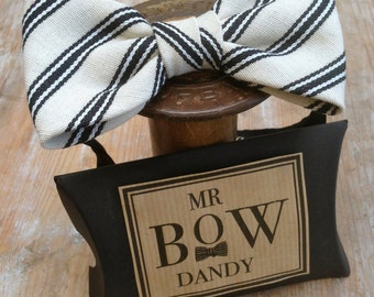 Dapper Bow Tie in Black/Natural. 100% Organic Cotton with adjustable neck fitting available in over 50 colours and patterns.