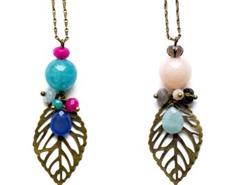 """Pendant Pemberley semi-precious stones (natural stones) and brass """"Manyara"""" (2 colours) - necklace - Necklace - Gemstone brass during"""