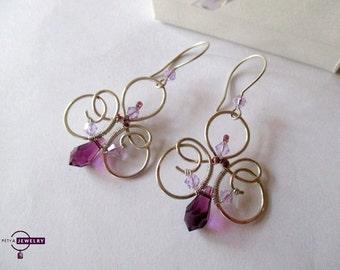 Silver earrings, Swarovski crystal earrings, Handmade sterling silver earrings, purple earrings, amethyst earrings, Gift for her