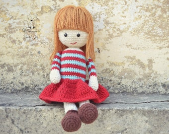 Crochet doll pattern, amigurumi girl pattern, crochet girl amigurumi, Amelia doll, pattern no. 6