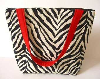 Zebra Print Tote Bag - Animal Print Tote Bag - Fabric Tote Bag - Fabric Purse - Fabric Bag - Fabric Tote - Shoulder Purse - Shoulder Tote