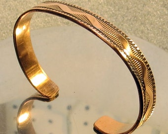 """stamped copper cuff bracelet, 5/16"""" wide, small to medium sized"""