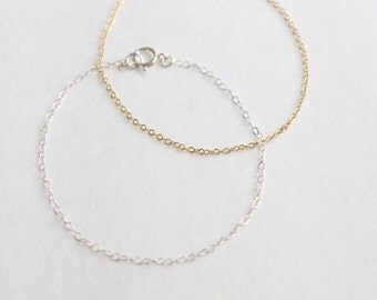 Classic Chain Layering Bracelet, 14k Gold Fill or Sterling Silver, Dainty, Simple, Minimalist Everyday Chain Wear