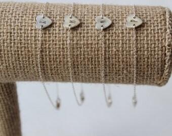 Dainty Initial Heart Bracelet, Sterling Silver Jewelry