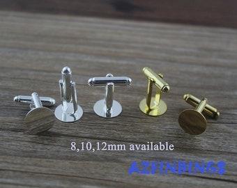 Cufflink Blanks-Cuff Links-Silver Cufflinks-12mm round flat cufflink Blank-12mm Metal cufflinks Blank-Glue Cufflink findings-Select Qty