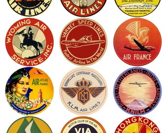 48 vintage luggage labels - air travel, airplanes and airlines