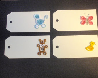 Quilled Gift Tags for a New Baby -- set of 4, various designs
