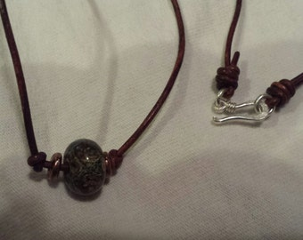 1.5MM Leather Necklace with Copper Beads, 9x13 Lampwork Glass Bead & Sterling Silver Clasp
