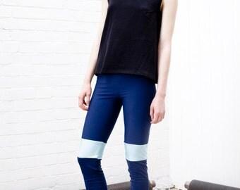 navy lycra leggings / lycra leggings / navy leggings / panelled leggings / yoga pants / leggings / tights / blue leggings